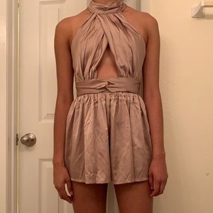 Satin romper with cut outs